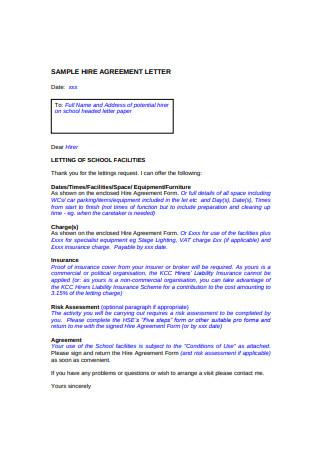Sample Rental Hire Agreement Letter