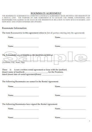 Sample Roommate Information Agreement