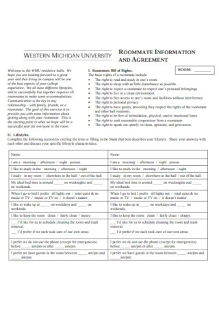 Sample Roommate Information and Agreement Template