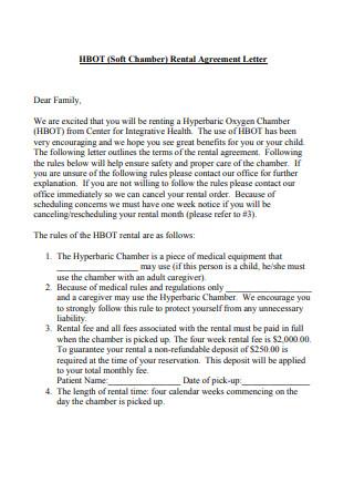 Sample Soft Rental Agreement Letter Template