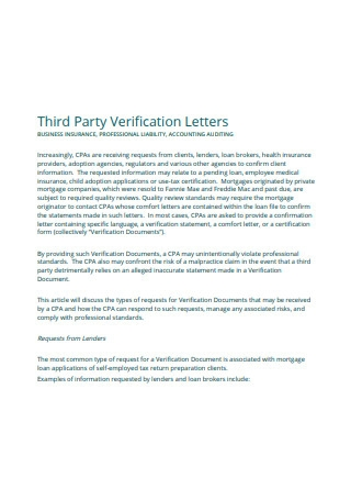 Sample Third Party Verification Letters