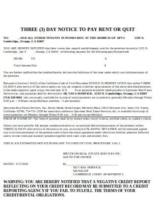 Sample Three Day Notice to Pay Rent Quit Template
