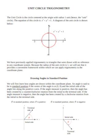 Sample Unit Circle Trigonometry Template