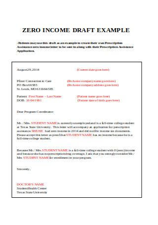 Sample Zero Income Letter
