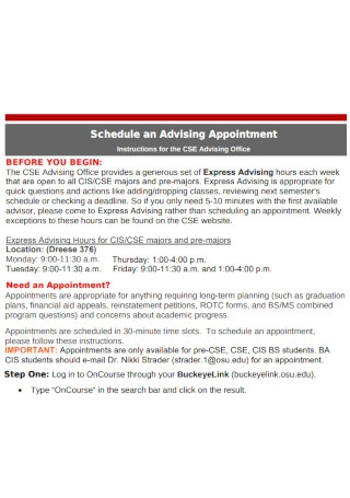 Schedule an Advising Appointment Template