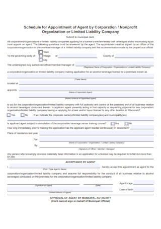 Schedule for Appointment of Agent by Corporation