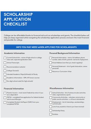 Scholarship Application Checklist Template