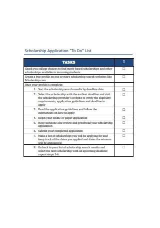 Scholarship Application To Do List
