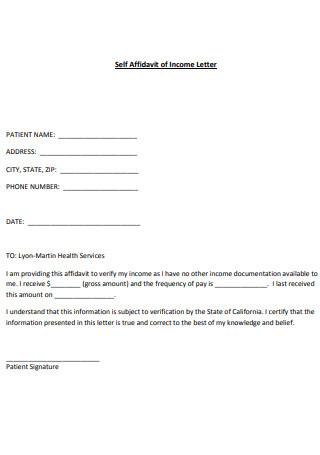 Self Affidavit of Income Letter
