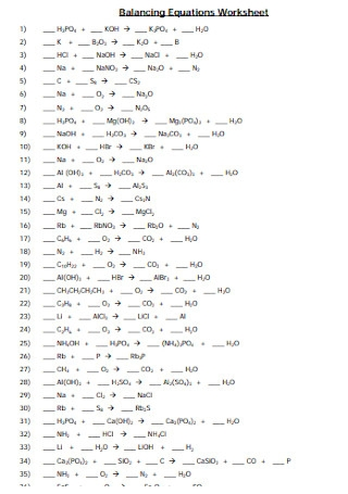 Balancing Equations Practice Problems Worksheet Answers ...