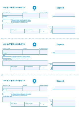 Simple Bank Deposit Slip Template