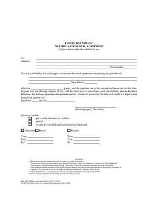 Simple Termination Rental Agreement Letter