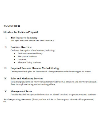 Structure for Business Proposal