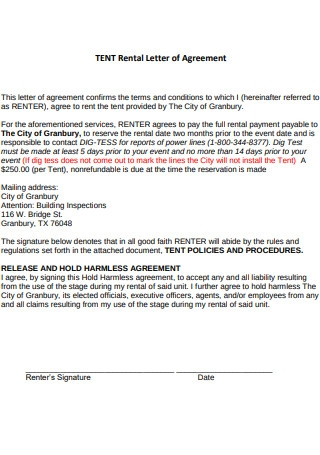Tent Rental Letter of Agreement