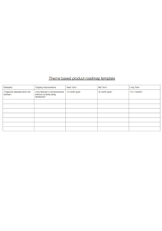 Theme Based Product Roadmap Template