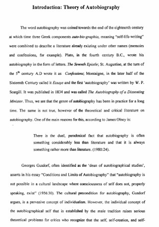 Theory of Autobiography Speech Template