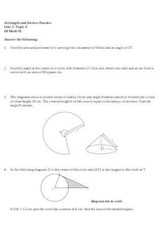 Uniot Circle Arclength Diagram Template