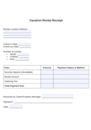Vacation Rental Receipt