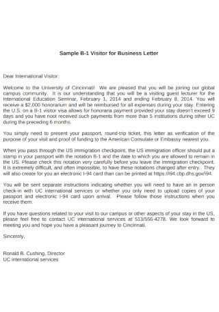 Visitor for Business Promotion Letter