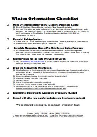 Winter Orientation Checklist