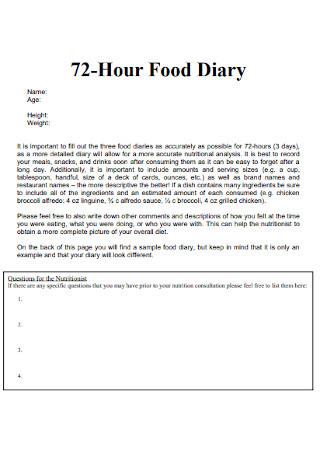 72 Hour Food Diary
