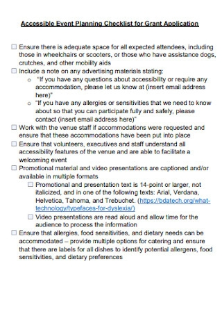Accessible Event Planning Checklist for Grant Application