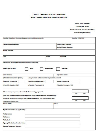 Additional Premium Credit Card Payment Authorization Form