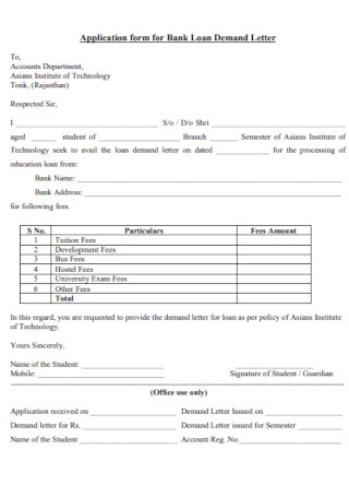 Application form for Bank Credit Loan Demand Letter
