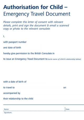 Authorisation for Child Emergency Trave Letter