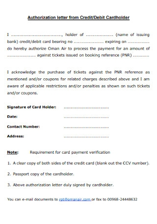 Authorization Letter from Credit and Debit Cardholder