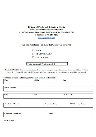 Authorization for Credit Card Use Form Template