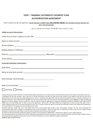 Automatic Payment Plan Authorization Agreement Template