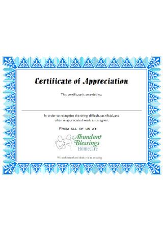 Award Certificate of Appreciation Template