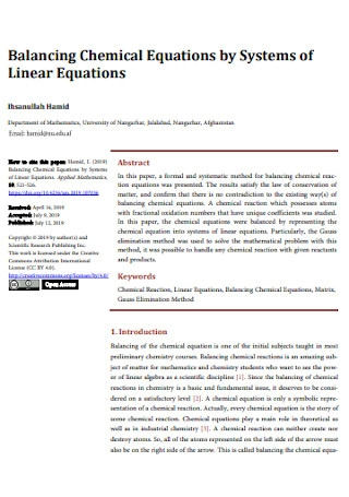 Balancing Chemical Equations of Linear Equations