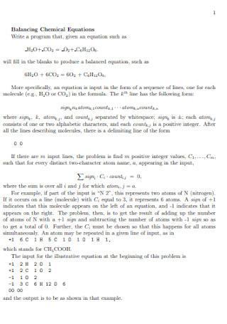 Balancing Chemical Program Equations