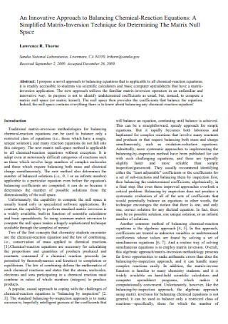 Balancing Chemical Reaction Equations