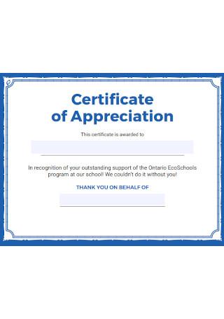 Basic Certificate of Appreciation Letter