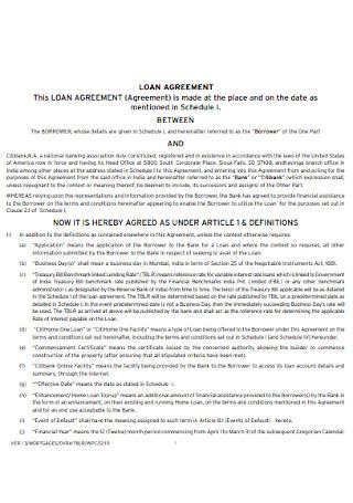 Basic Commercial Loan Agreement