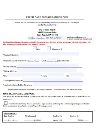 Basic Credit Card Authorization Form Template