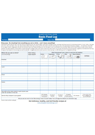 Basic Food Log Template
