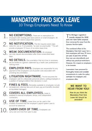 Basic Mandatory Paid Sick Leave Template