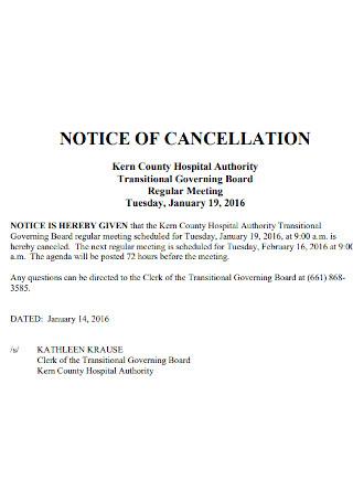 Basic Notice of Cancellation