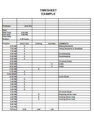 Basic Timesheet Example