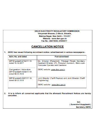 Basic Written Notice of Cancellation