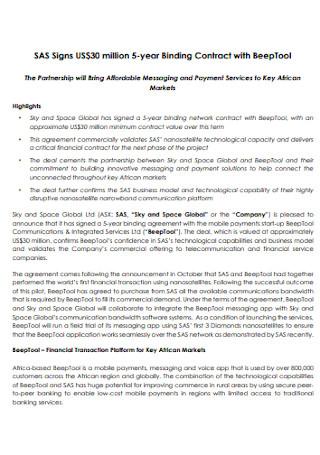Binding Partnership Contract
