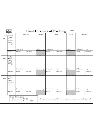 Blood Glucose and Food Log