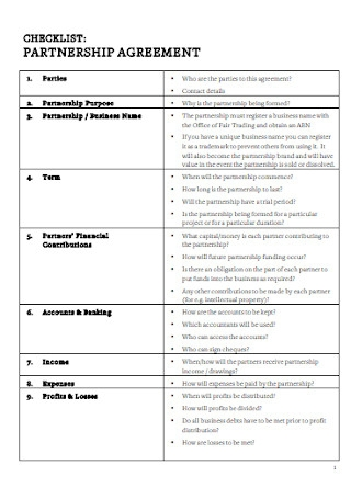 Brand Parnership Agreement Checklist