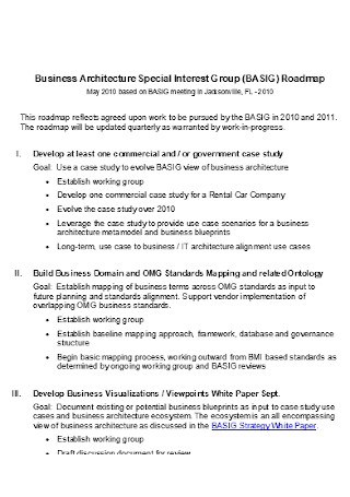 Business Architecture Special Interest Group Roadmap
