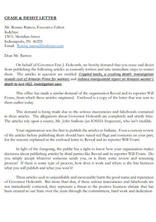 Cease and Desist Letter Format