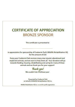 Certificate of Appreciation Brozne Sponcer Template